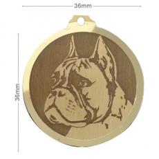 medaille chien boxer oreilles coupees