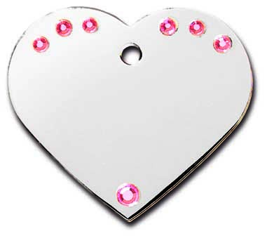 medaille chien coeur strass rose