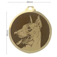 medaille chien doberman oreilles coupees