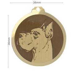 medaille chien dog allemand oreilles coupees