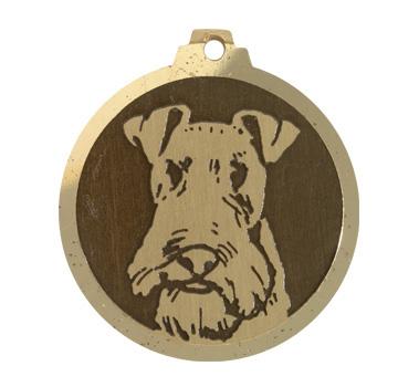 medaille chien fox terrier poils durs