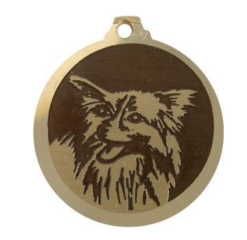 medaille chien papillon