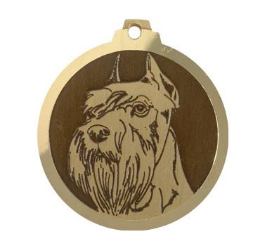 medaille chien schnauzer moyen oreilles coupees