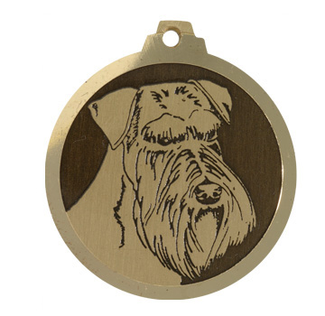 medaille chien schnauzer moyen oreilles longues