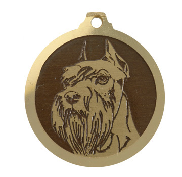 medaille chien schnauzer nain oreilles coupees