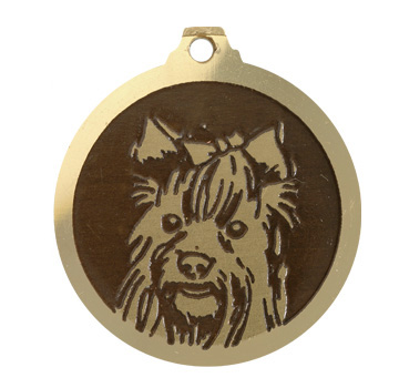 medaille chien yorkshire poils longs
