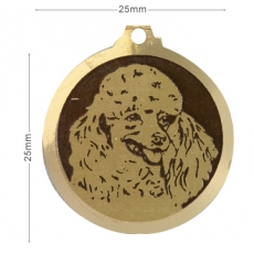 Medaille chien gravee Caniche Coupe Bebe
