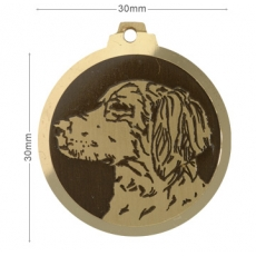 Medaille chien gravee Epagneul Breton
