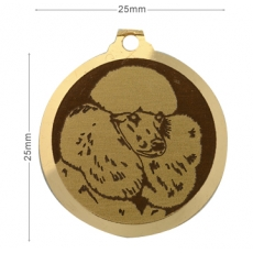 Medaille chien gravee Caniche museau rase