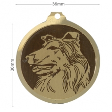 Medaille chien gravee Colley