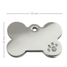Medaille chien Os Strass Patte
