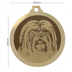 Medaille chien gravee Lhassa Apso
