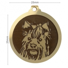Medaille chien gravee Yorkshire Poils Longs