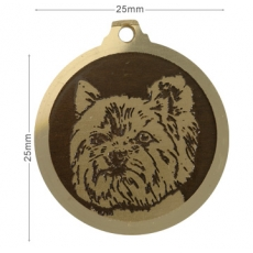 Medaille chien gravee Yokshire Coupe New Look