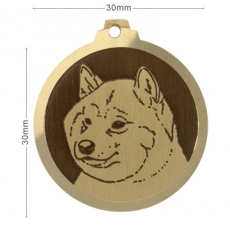 Medaille chien gravee Shiba Inu