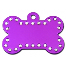 Medaille chien Alu Strass Os Violet