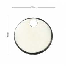 Medaille chien Ronde 16mm Argent
