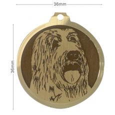 Medaille chien gravee Bearded Collie