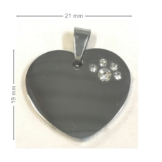 Medaille chien Coeur Strass Patte