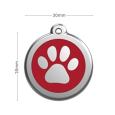 medaille Chien RED DINGO Patte Rouge 30mm