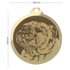 Medaille chien gravee Bouledogue Anglais