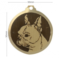 Medaille chien gravee Boston Terrier