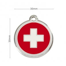 Médaille Chien RED DINGO Rouge Swiss 30mm