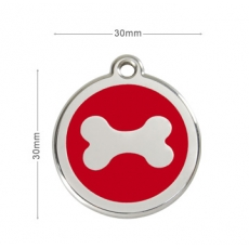 Médaille Chien RED DINGO Os Rouge 30mm