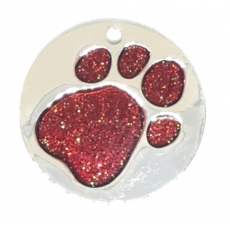 Medaille Chien Glitter Ronde Rouge