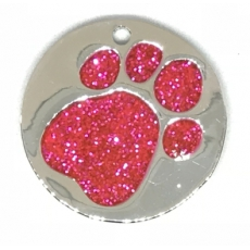 Medaille Chien Glitter Ronde Rose