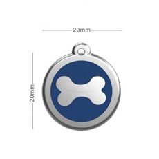 Medaille Chien RED DINGO Os Bleu 20mm