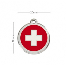 Médaille Chien RED DINGO Rouge Swiss  20mm